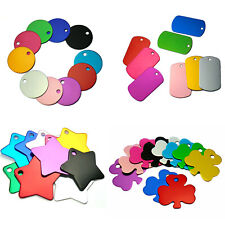 10pcs Blank Aluminum Personalized Pet id Tag Dog Puppy Cat Name Tags Multi Color
