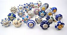 Set of 25 Blue and white hand painted ceramic pumpkin knobs cabinet drawer pulls