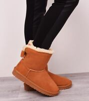 Womens Winter Boots Genuine Sheepskin Leather Fur Snow Casual Walking Sizes 3-8