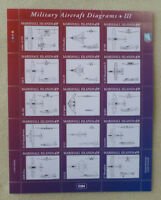 2014 MARSHALL ISLANDS MILITARY AIRCRAFT DIAGRAMSSET OF 15 STAMPS SHEET MINT