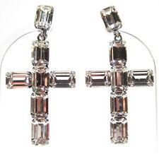SoHo® Ohrclips vintage 1960s Strasssteine Kristall crystal Kreuz Art deco stil