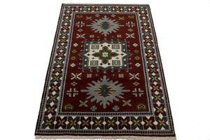 Wine Red Foyer Size Hand-Knotted 5X8 Geometric Design Kazak Oriental Rug Carpet