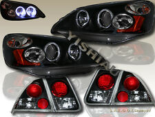 Fit 01-03 HONDA CIVIC 4DR SEDAN 2 HALO PROJECTOR HEADLIGHTS BLACK + TAIL LIGHTS