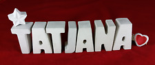 Beton, Steinguss Buchstaben 3D Deko Namen TATJANA als Geschenk verpackt!