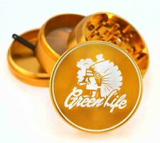 "GreenLife Chiefin GOLD 2.5"" 4pc Muller Herb Tobacco Grinder 420 Sharpstone"