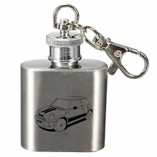 Engraved 1oz Stainless Steel Hip Flask Key Ring - Modern Mini Cooper Design
