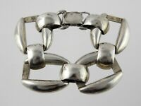 Vintage MEXICO Sterling Silver Large Chain Link Bracelet 925 Snap Clasp 7 5/8 In