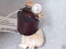 M & M Echt 925 Silber Ring Perlen Zirkonia Topaz weiß Solitärring Damen Gr 56