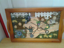"""3D Country Garden Scene Wood Serving Tray Coffee Tea   Kitchen Decor"