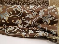 "Jacquard  Upholstery and  Drapery  Fabric, Color Chocolate By the Yard, 58"" wide"