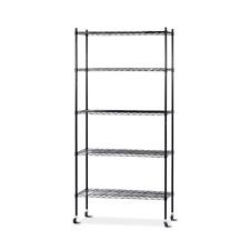 90cm 5-Tier Wire Shelf Shelving Unit Kithchen Storage Trolley Black