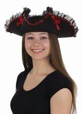 Black Tricorne Pirate Hat Red Sequins Ribbon & Trim Women's Costume Accessory
