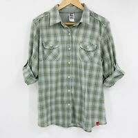 North Face Womens Falls Creek Woven Shirt Button Up Embroidered Green Plaid XL