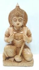 "9"" Hanuman Ji Statue WoodenHindu Hand Carved God Ram sita darsan Figure Idol"
