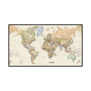 MAP OF THE WORLD LARGE WALL MAP POSTER DECOR 5X3FT