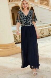 Brand New Nightingales Beaded Maxi Dress Navy Ivory Size UK 16