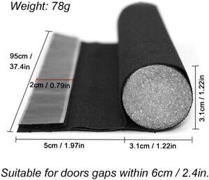 Door Draught Excluder, 37in/95cm Removable Draft Excluder for Door Bottom Black