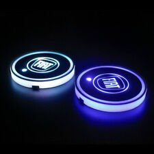 Car LED Cup Holder RGB 7 Color USB Interior Styling Atmosphere Lights Fiat 500