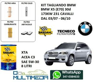 TAGLIANDO FILTRI E 8 LT OLIO BARDAHL 5W-30 BMW X5 3.0D E70  173KW 231CV