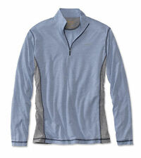 Men Orvis Trout Bum 0554 Wicking Quarter-Zip Shirt Blue Gray XL Pullover NWT