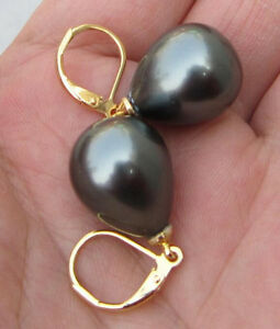 HUGE13X18MM AAA ++ BLACK TAHITIAN SHELL PEARL EARRING 14K HOOK At Engagement