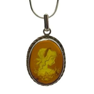 Vintage Carved Amber Reverse Cameo Sterling Silver Oval Pendant Necklace