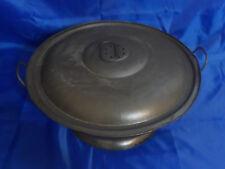 Antique Primitive Rising Bread Dough Metal Bowl with Vented Lid