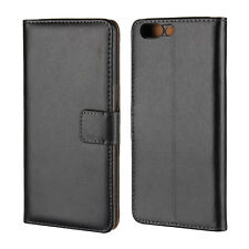 For OnePlus 5, Classic Black Genuine Leather Business Wallet Case Cover Stand