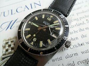 Vintage S/S 1970's Men's Vulcain Super Waterproof Incabloc Swiss Diver's Watch
