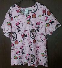 Disney Minnie Mouse Scrub Top Smile Love Laugh Cutie Pie Size 2X, Pink