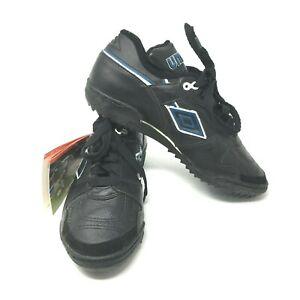 Umbro Womens Sz 6 Soccer Shoes SX 3100 HG Black Blue No Cleats NWT