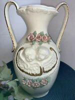 Vintage Porcelain Two Handle Vase/ Urn With Cherubs And Roses