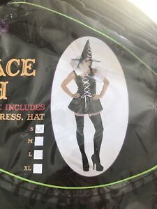 Halloween Pink Lace Witch Dress & Hat - Size Small Scary Fancy Dress Costume