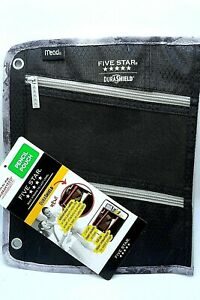 Mead Five Star DuraShield Pencil Pouch Bag 3 Ring Binder 3 Compartments Black