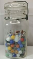 "Vintage Atlas ""good luck"" Mason Jar half Full Of Marbles"