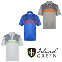 Island Green Mens Golf Polo Shirts Striped Short Sleeve Casual Shirt  IGTS1644