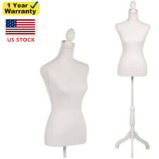 New Listingfemale Mannequin Torso Dress Form With White Tripod Stand Shop Display Clothing