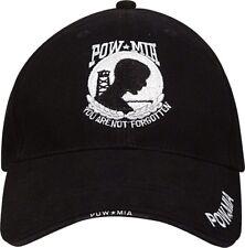 Black Deluxe POW MIA Low Profile Baseball Hat Cap
