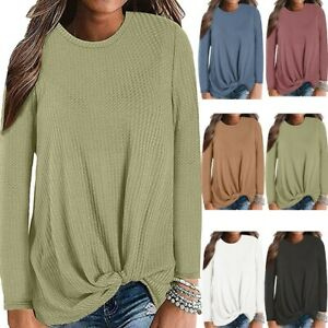Women's Casual Long Sleeve Knot Solid Knit Tunic Blouse Cute Shirts Autumn Tops