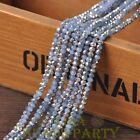 New 150pcs 3X2mm Crystal Glass Rondelle Faceted Loose Beads Jade Lt Blue&Silver