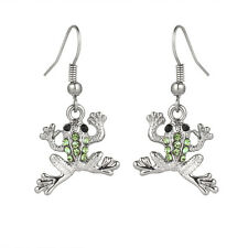 Green Frog Fashionable Earrings - Fish Hook - Sparkling Crystal