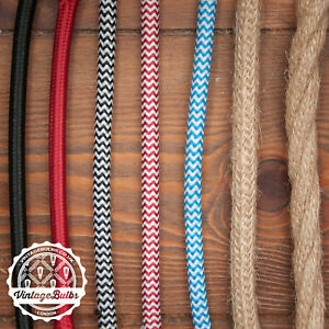 Vintage fabric braided cable three core retro pendant wire different colours