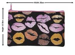 Glitter Hot Lips Make Up Bag or Pencil Case Black Pink Girls Lipstick Kisses!