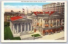 The Old & New Court House Buildings in Dayton, Ohio White Border Postcard
