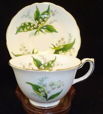 VINTAGE HAMMERSLEY BONE CHINA artist Signed  LILY OF VALLEY TEA CUP AND SAUCER
