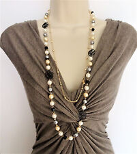 Beautiful Silver Grey Pearl Bead Layered Necklace Gold Tone Chain Flower Pendant