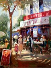 Afternoon Tea by the Street, Quality Hand Painted Oil Painting 30x40in