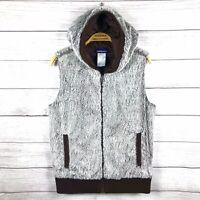 Patagonia Women's Brown White Soft Fleece Fur Full Zip Hooded Vest Size Medium