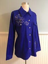 Size XL Quacker Factory Blue Embellished Jewel Denim Jacket Top Shirt NWT Womens