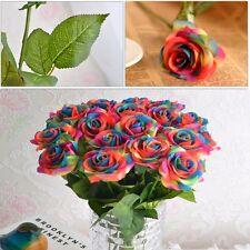 Rainbow Single Stem Rose Artificial Flower Wedding Party Bridal Bouquet Decor